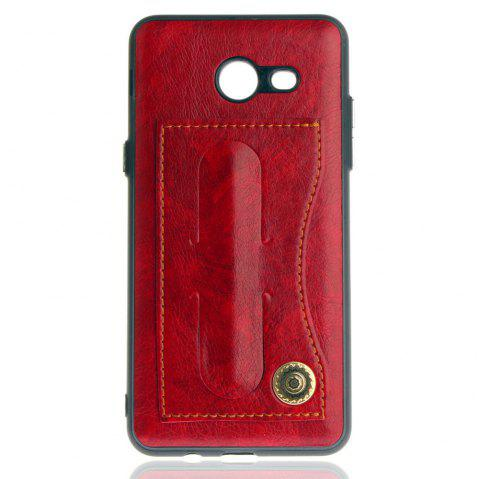 Leather Bracket Insert Card Cell Phone Shell for Samsung Galaxy J5 2017 J520 US Version Fashion Case - RED