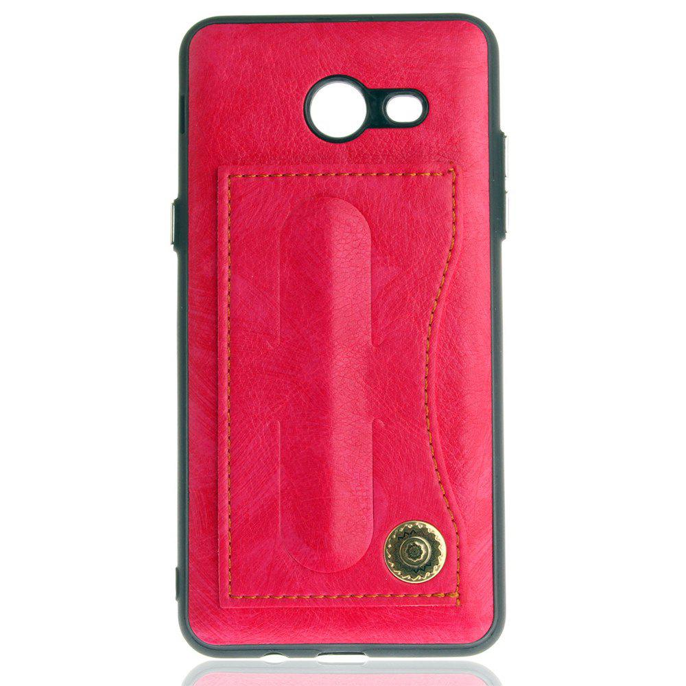 Leather Bracket Insert Card Cell Phone Shell for Samsung Galaxy J5 2017 J520 US Version Fashion Case - SANGRIA