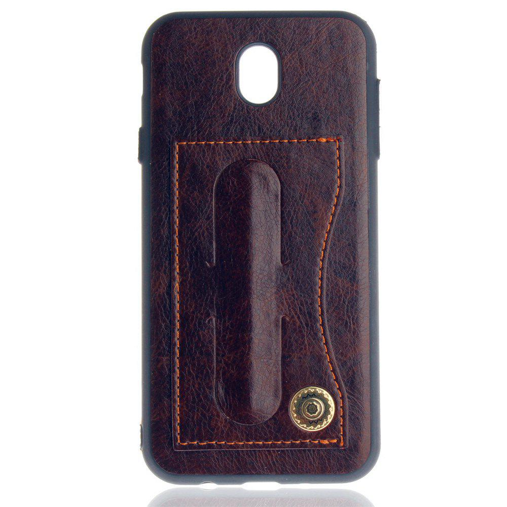 Leather Bracket Insert Card Cell Phone Shell For Samsung Galaxy J5 2017 J530 Case European Version Fashion Phone Case - MOCHA