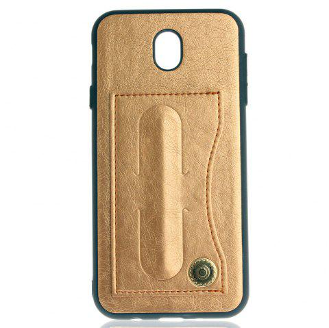 Leather Bracket Insert Card Cell Phone Shell For Samsung Galaxy J7 2017 J730 Case European Version Fashion Phone Case - GOLDEN