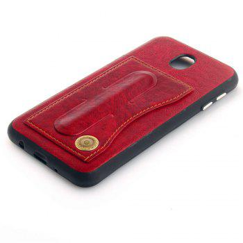 Leather Bracket Insert Card Cell Phone Shell For Samsung Galaxy J7 2017 J730 Case European Version Fashion Phone Case - RED