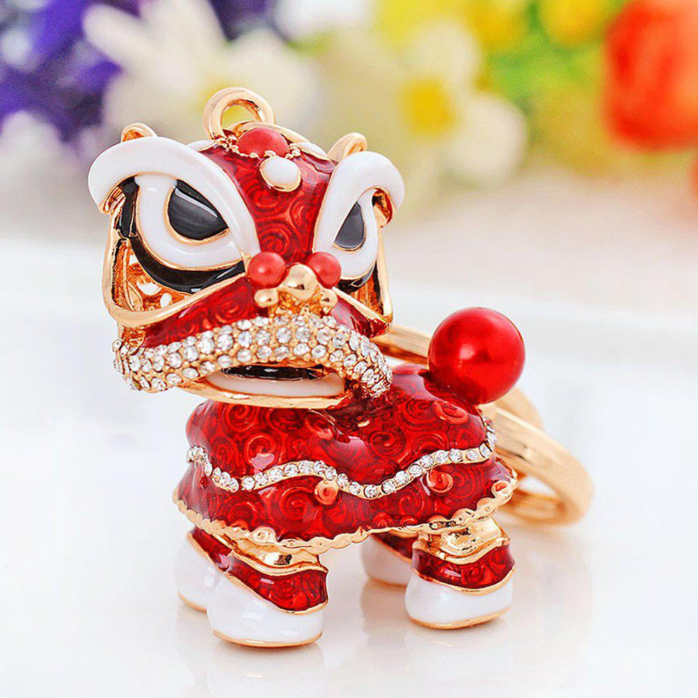 Creative Gifts Chinese Style Lion Dance Unicorn Alloy Key Chain Fashion Girls Bag Ornaments Car Accessories - RED