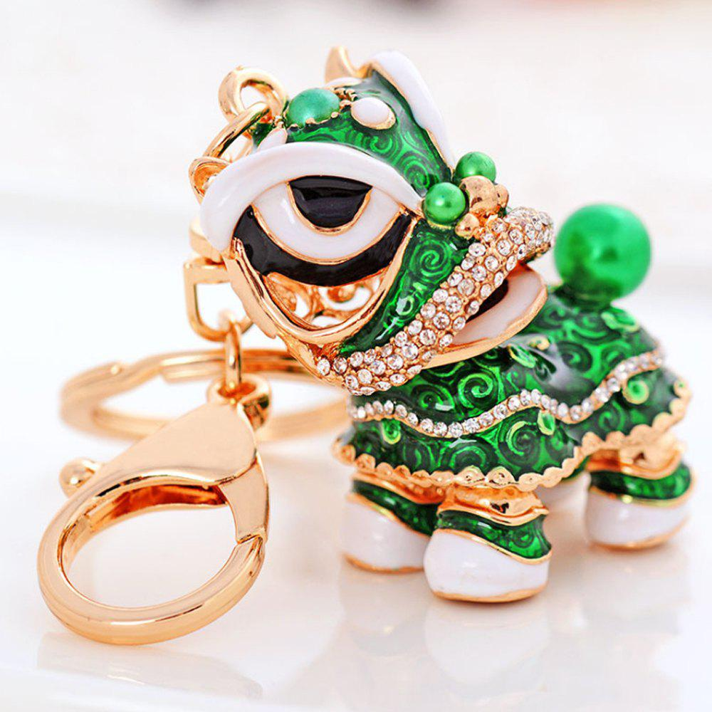 Creative Gifts Chinese Style Lion Dance Unicorn Alloy Key Chain Fashion Girls Bag Ornaments Car Accessories - FERN