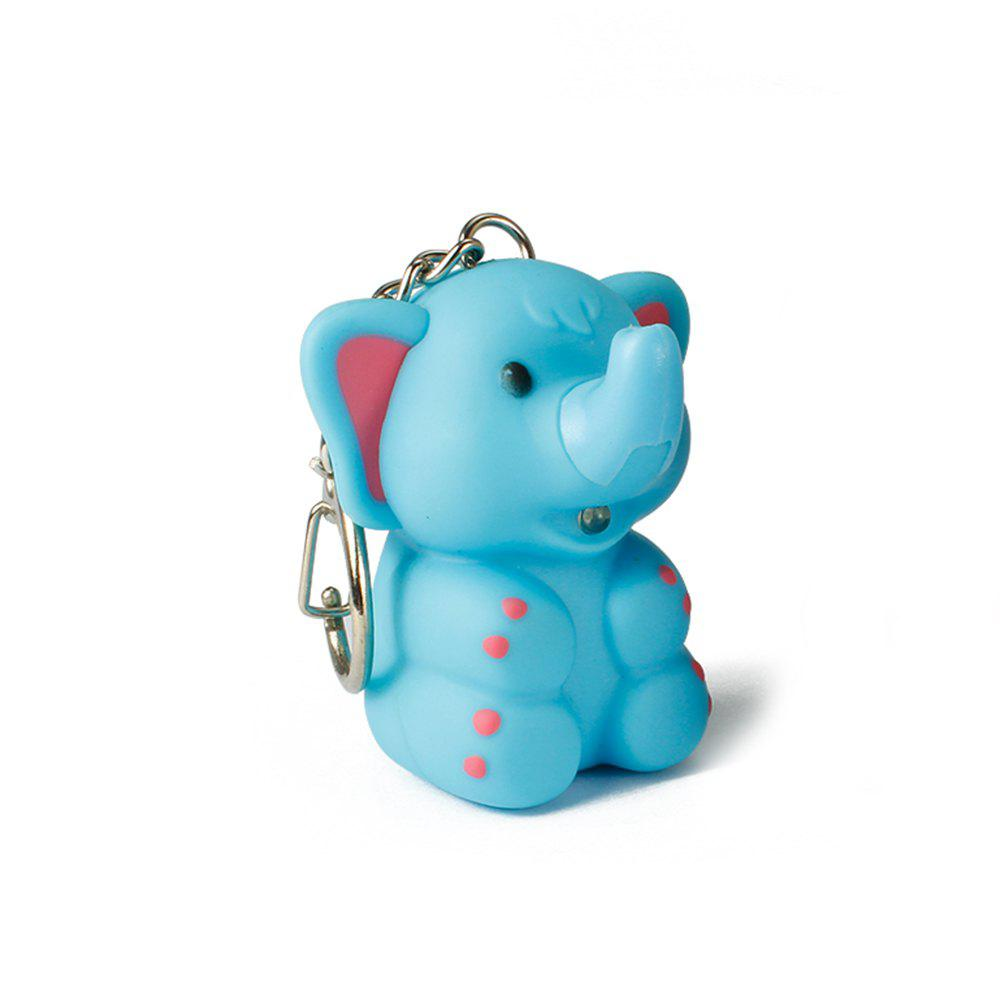 Elephant Cute Key Hanging Decorations Lighting Vocal Small Animals Keyring - BLUE