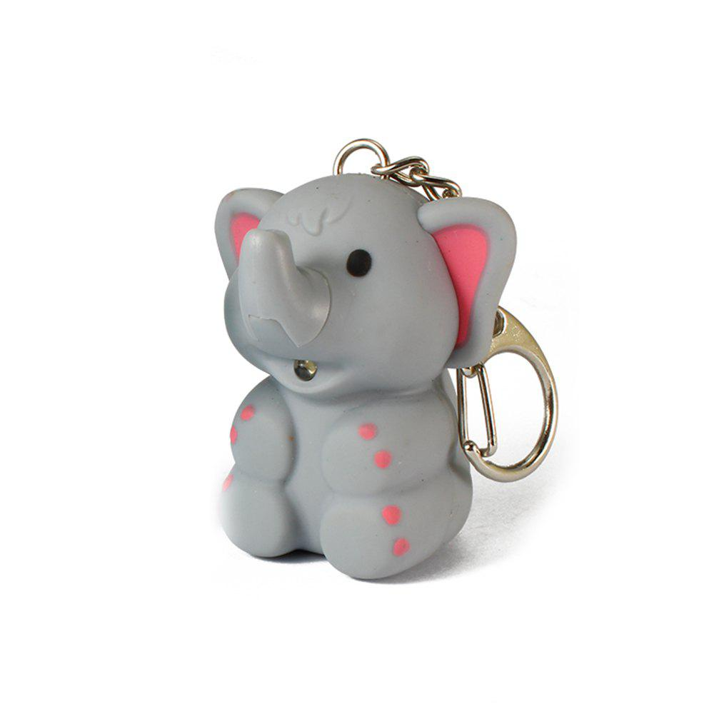 Elephant Cute Key Hanging Decorations Lighting Vocal Small Animals Keyring - GRAY