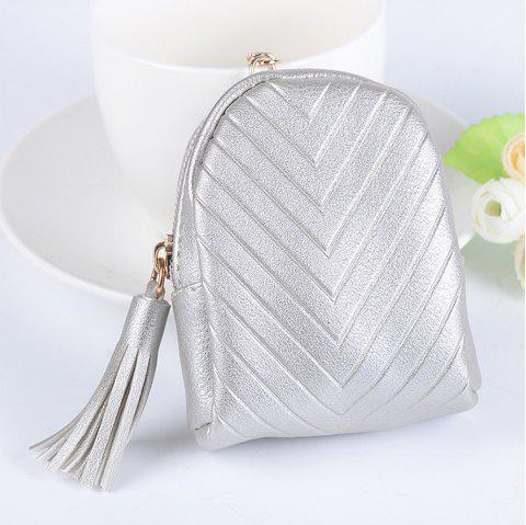 Beautiful Small Backpack Pendant Leather Tassel Purse Car Key Ring - SILVER