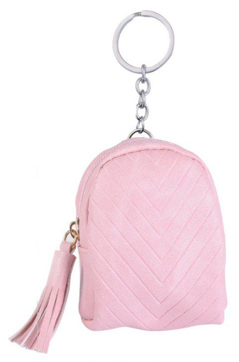 Beautiful Small Backpack Pendant Leather Tassel Purse Car Key Ring - PINK