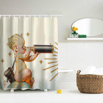 Telescope Baby Polyester Shower Curtain Bathroom  High Definition 3D Printing Water-Proof - COLORMIX W71 INCH * L79 INCH