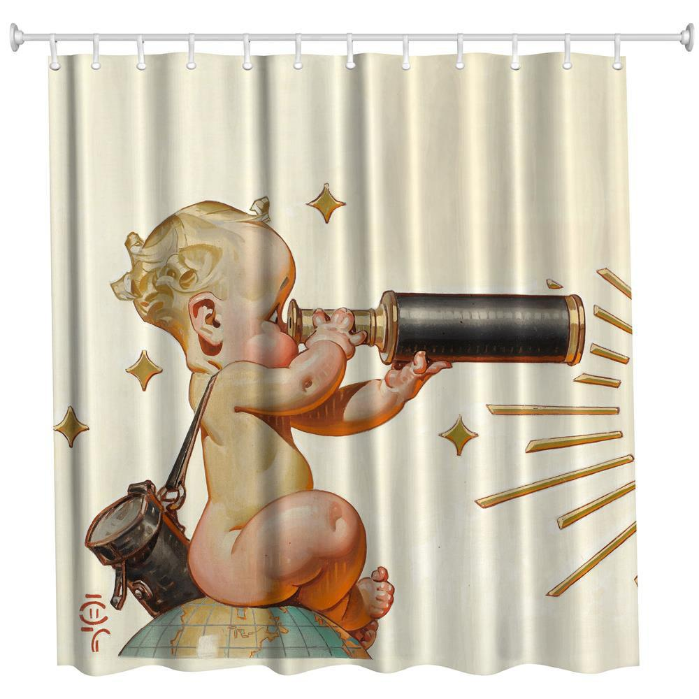 Telescope Baby Polyester Shower Curtain Bathroom  High Definition 3D Printing Water-Proof - COLORMIX W71 INCH * L71 INCH