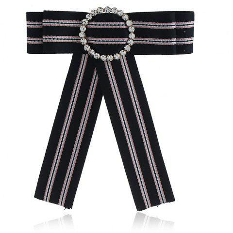 Butterfly Bee Bowknot Brooch Round Crystal Shirt Bow Tie College Wind Collar Brooches Needle Ribbons Fabric - BLACK