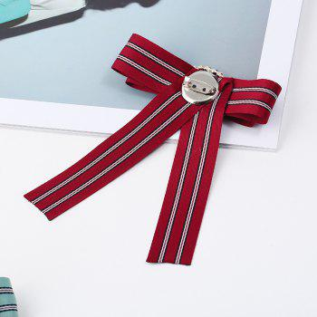 Butterfly Bee Bowknot Brooch Round Crystal Shirt Bow Tie College Wind Collar Brooches Needle Ribbons Fabric - RED