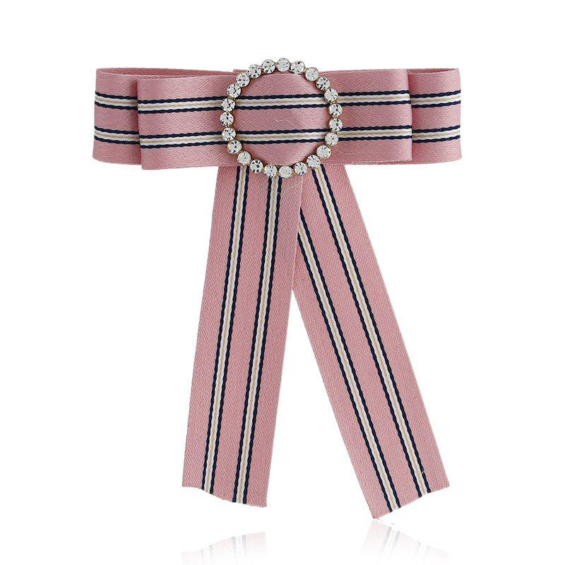 Butterfly Bee Bowknot Brooch Round Crystal Shirt Bow Tie College Wind Collar Brooches Needle Ribbons Fabric - PINK