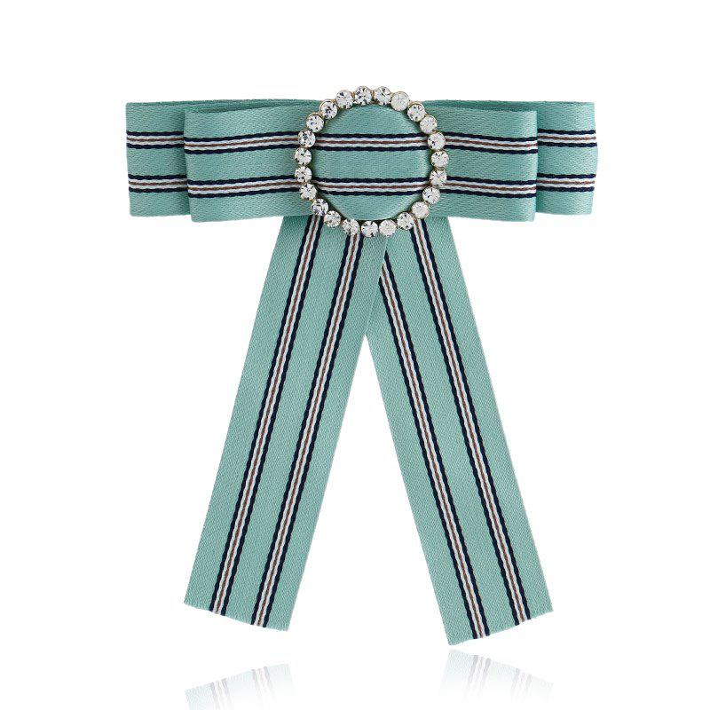 Butterfly Bee Bowknot Brooch Round Crystal Shirt Bow Tie College Wind Collar Brooches Needle Ribbons Fabric - GREEN