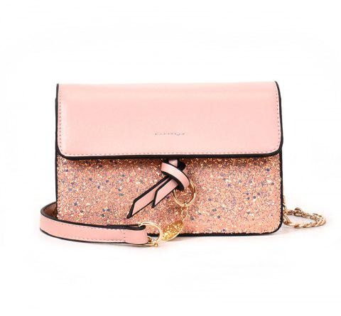 Joker Sequined Small Square Package Buckle Chain Bag Diagonal Shoulder Bag - PINK