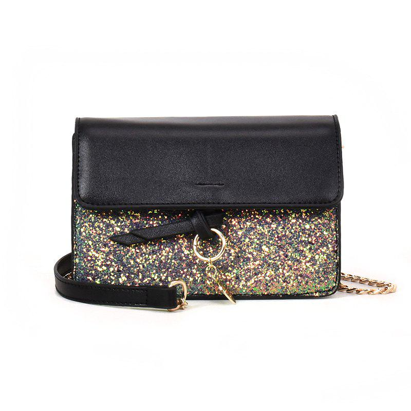 Joker Sequined Small Square Package Buckle Chain Bag Diagonal Shoulder Bag - GREEN