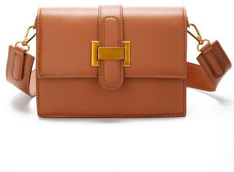 Female Wild Messenger Buckle Fashion Shoulder Bag - CARAMEL