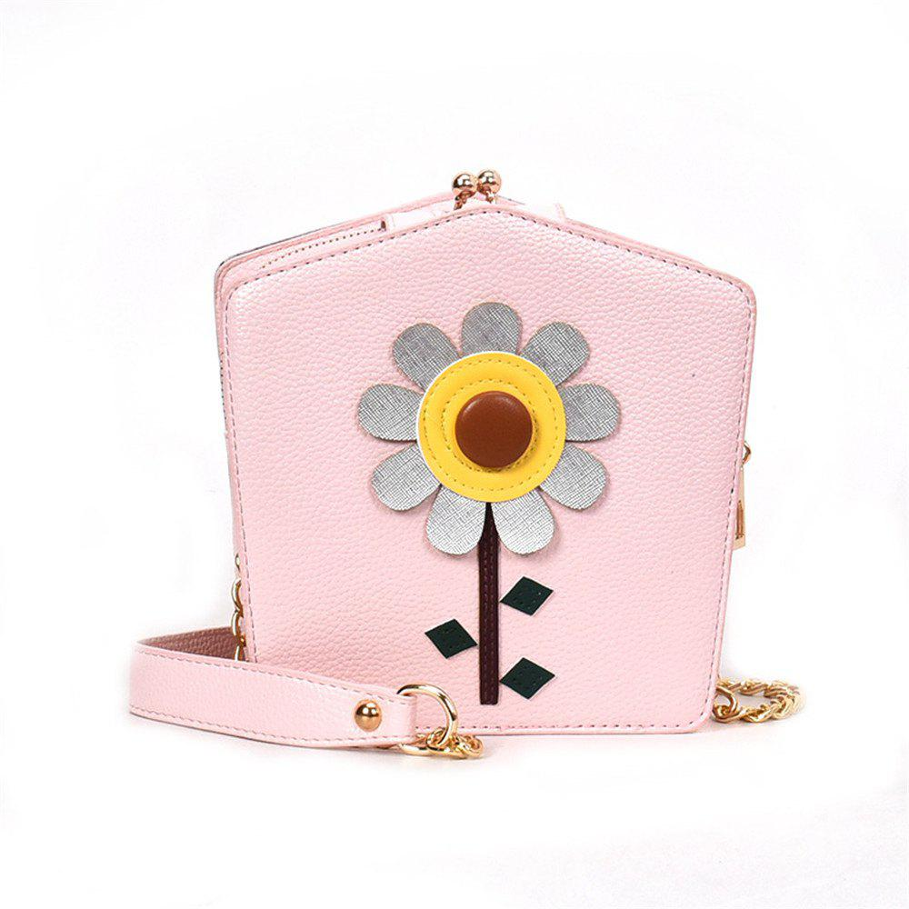 The New Korean Fashion Flowers All-match Double Small Fresh Shoulder Messenger Bag Small Korean Singles - PINK