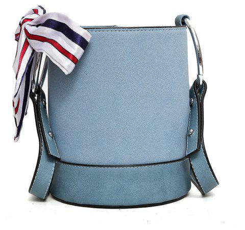 Water Barrel Bag European and American Fashion Female Grit Color Silk Scarf Cylinder Single Shoulder Slant and Crosst - BLUE