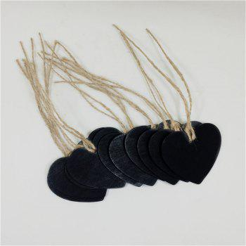 160203 Heart Shaped Small Blackboard Love Wood Home Party Decoration Tag (10 Pcs) - BLACK