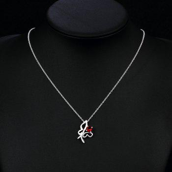 Fashion Red Zircon Hollow Butterfly Necklace - SILVER