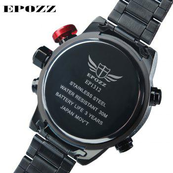 EPOZZ 1312 LED Display Men Watch Quartz Watch Alarm Clock Life Waterproof - BLACK/RED