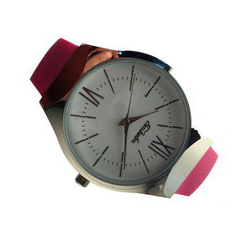 EMBALM 0001 New Ladies Round Silicone Watch - ROSE RED FEMALE