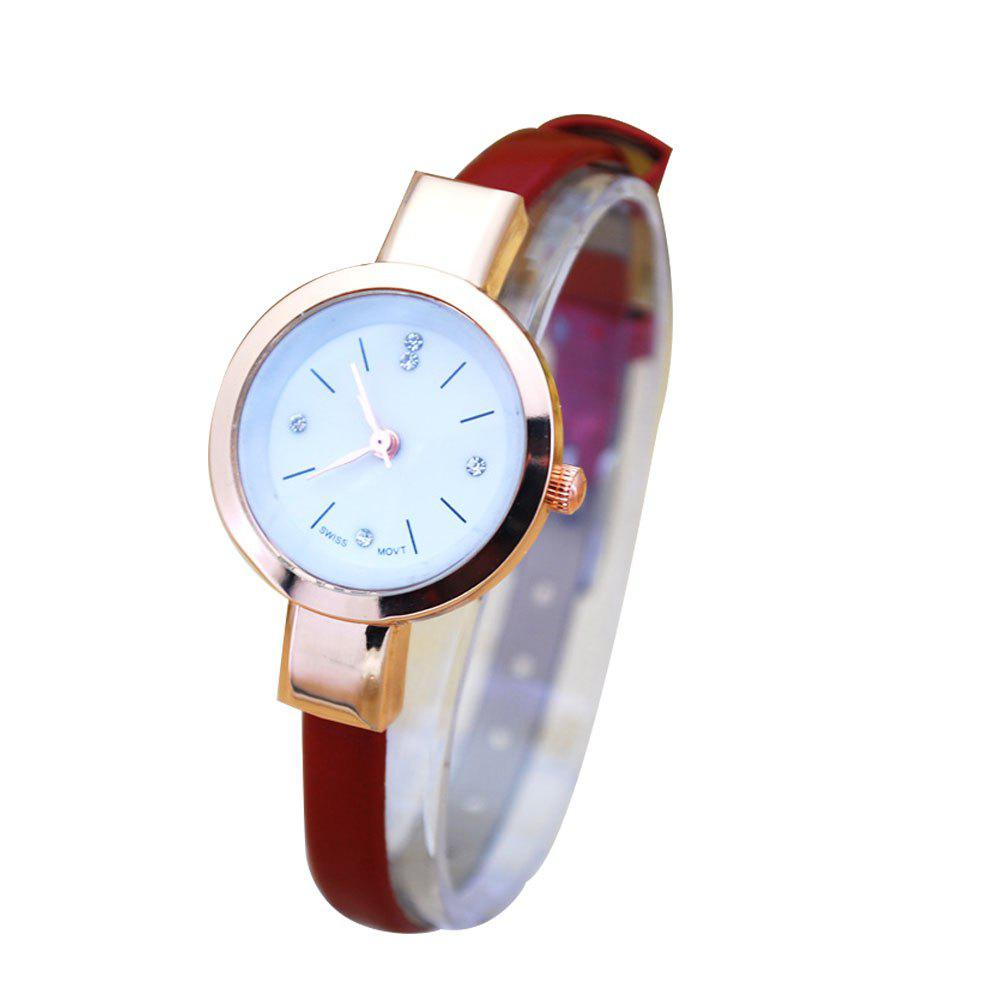 Selling Thin Belt Ladies Hand Temperament Korean Fashion Small Dial Belt Watch - RED FEMALE