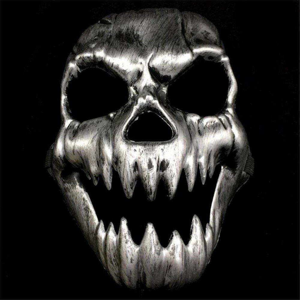 Scary Ghost  Skeleton Mask Antique l Halloween Cosplay Creative Party - SILVER