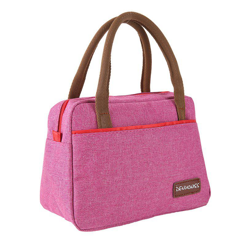 Extra Thick Oxford Cloth Bag Lady's Handbag Classic Style - ROSE RED 18X22X12CM