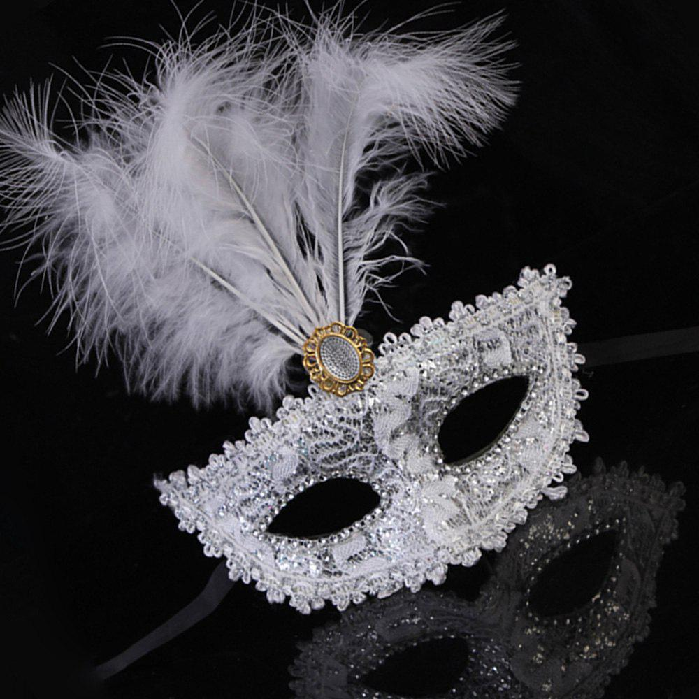 Lady Sexy Lace Feather Flower Eye Mask Masquerade Girl Half Face Dance Headdress - WHITE