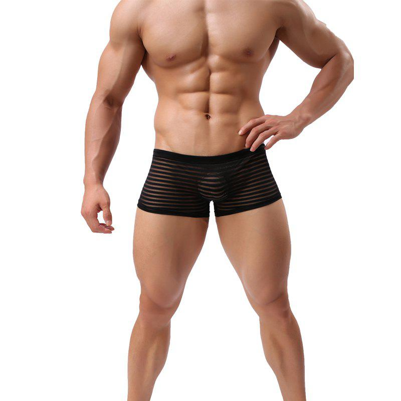 Gauze Men's Underwear Boxer Sexy Transparent Low Waist Shorts - BLACK L
