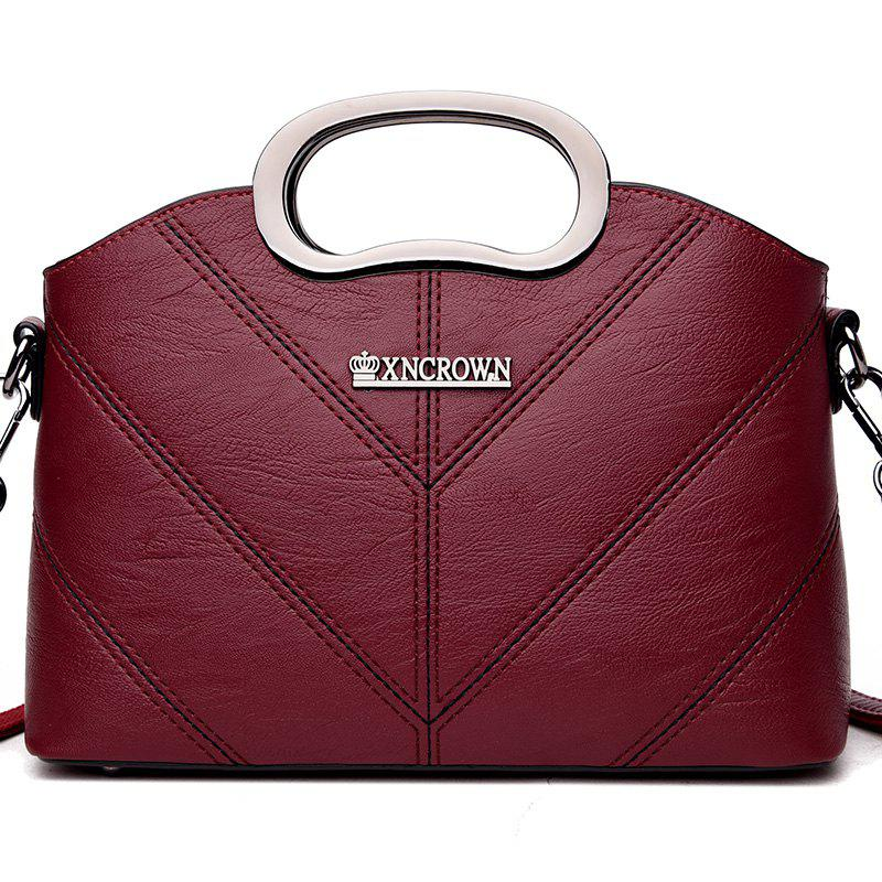 Color Stripe Single Shoulder Messenger Bag - BURGUNDY