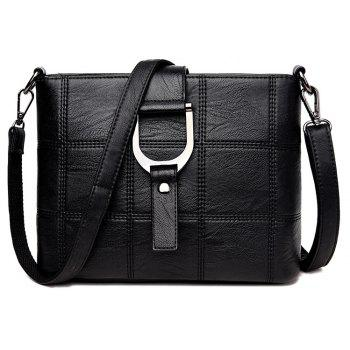 Simple Joker Soft leather Splice Box Messenger Bag - BLACK