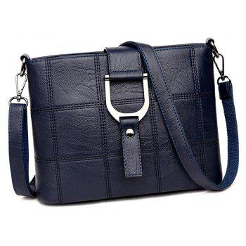 Simple Joker Soft leather Splice Box Messenger Bag - BLUE