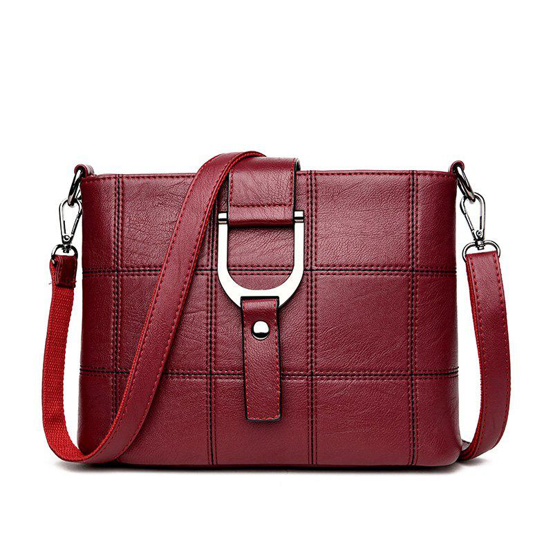 Simple Joker Soft leather Splice Box Messenger Bag - RED