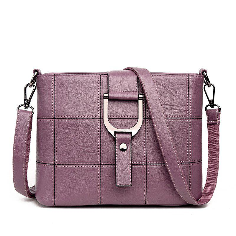 Sac à bandoulière Simple Joker Soft Splice Box en cuir - Pourpre