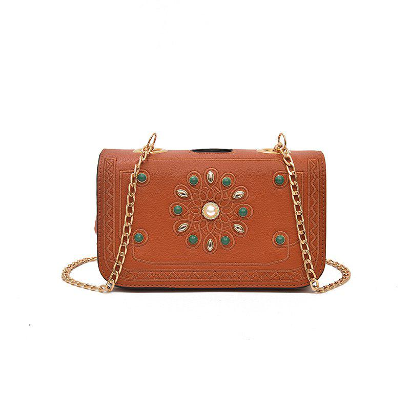 Individual Multi-layer Clip Chain Crossbody Bag - BROWN