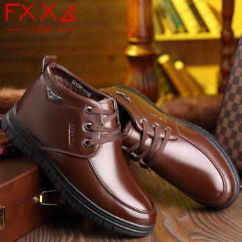 Leather Plush Warm Leisure Shoes - BROWN 40