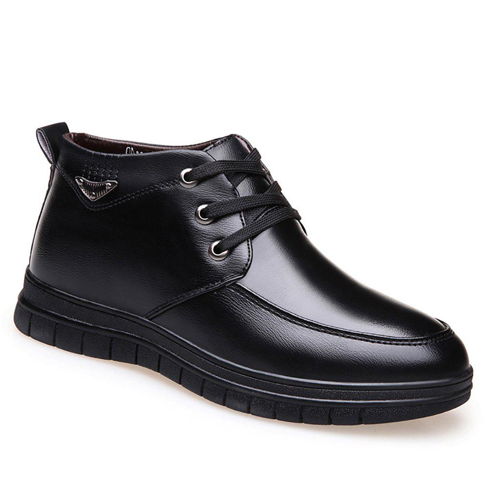 Leather Plush Warm Leisure Shoes - BLACK 38