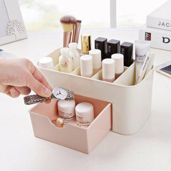 Cosmetic Jewelry Organizer Office Storage Drawer Desk Plastic Makeup Brush Box Lipstick Remote Control Holder - PINK
