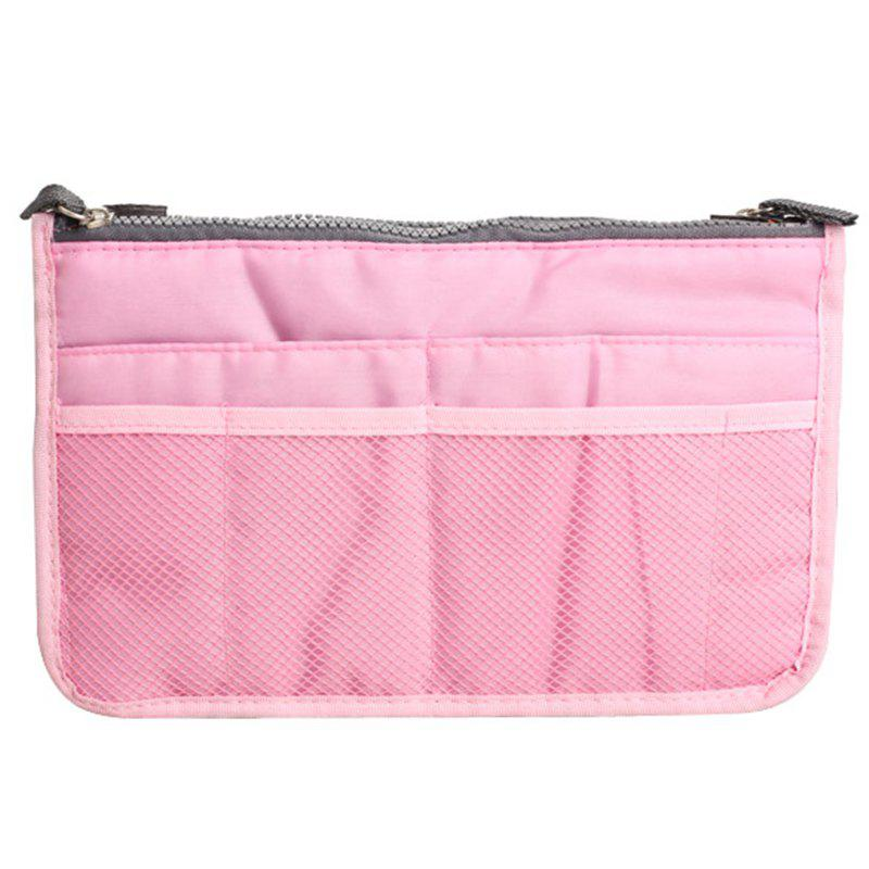 Portable Double Zipper Storage Bag Insert Organizer Handbag Women Travel Bag for Cosmetics - PINK