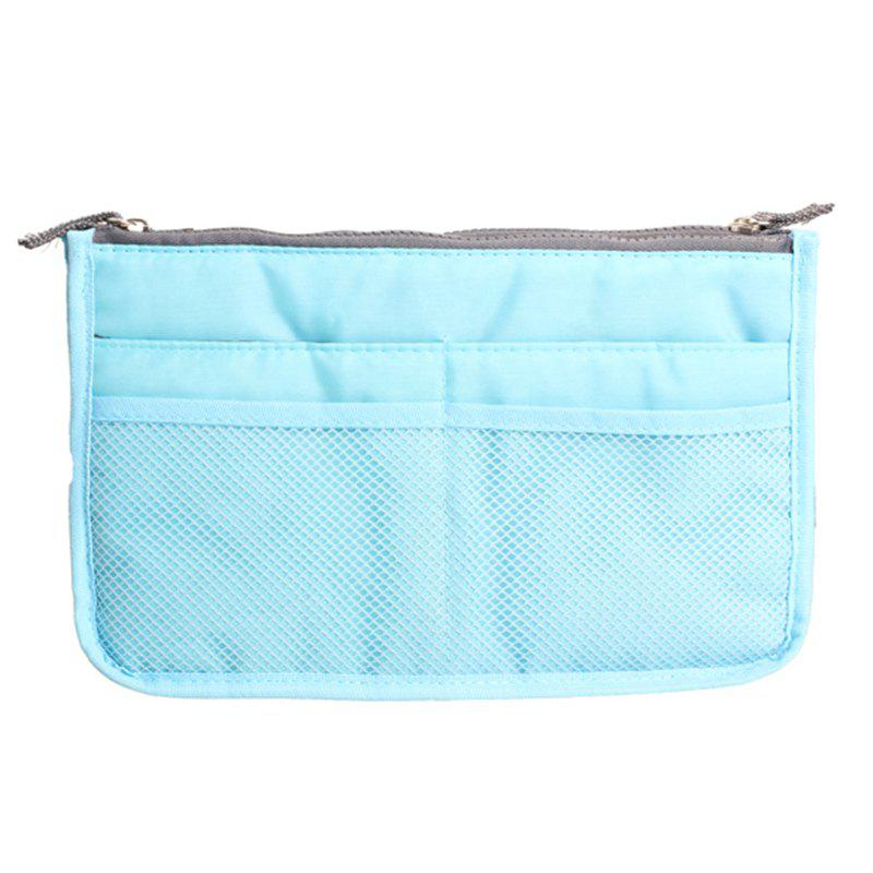 Portable Double Zipper Storage Bag Insert Organizer Handbag Women Travel Bag for Cosmetics - BLUE