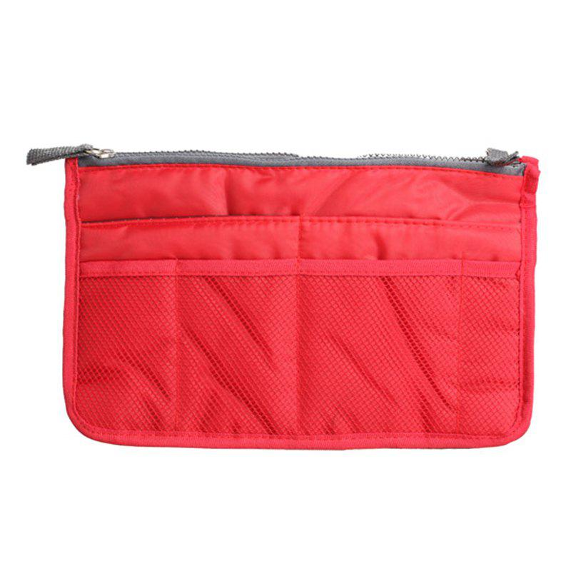 Portable Double Zipper Storage Bag Insert Organizer Handbag Women Travel Bag for Cosmetics - RED