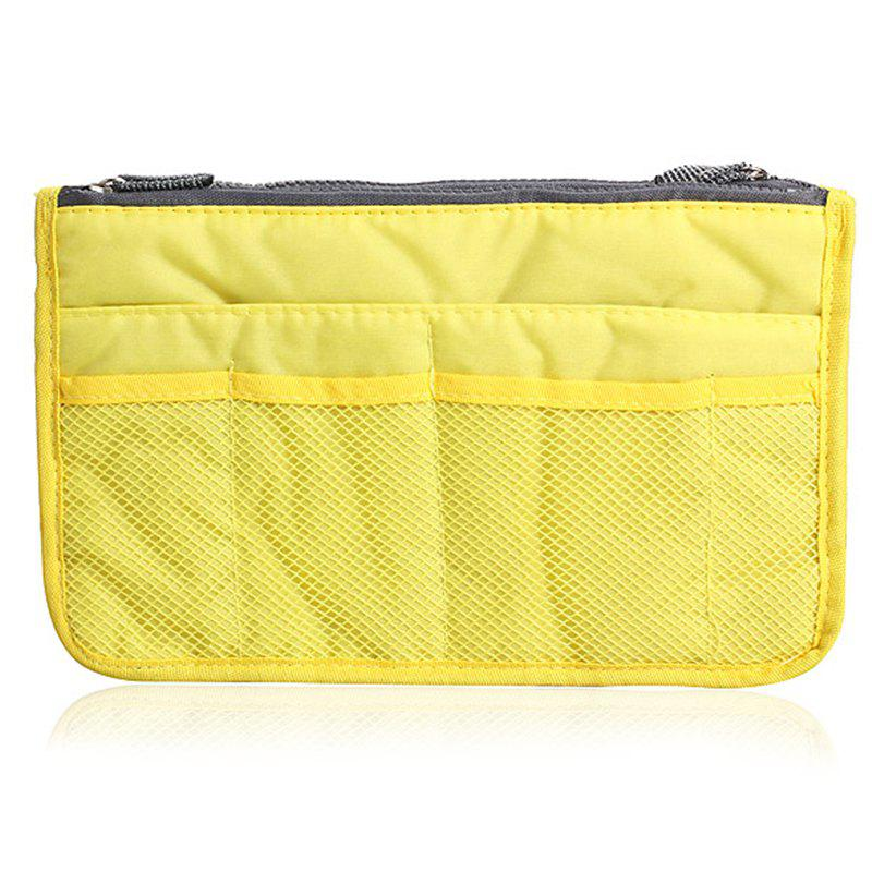 Portable Double Zipper Storage Bag Insert Organizer Handbag Women Travel Bag for Cosmetics - YELLOW