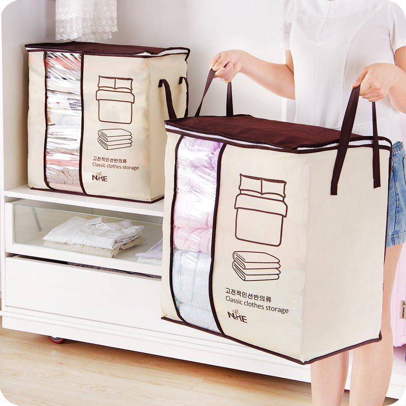 Non-Woven Family Save Space Bed Under Closet Storage Box Clothes Divider Quilt Bag Holder Organizer - CLARET