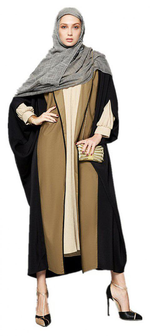 Abaya Patchwork Color Block Ouvert devant Maxi Long Manteau - Jaune et noir 2XL