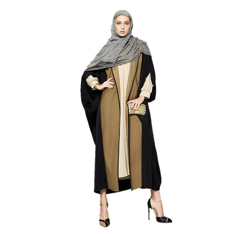 Abaya Patchwork Color Block Ouvert devant Maxi Long Manteau - Jaune et Noir 3XL