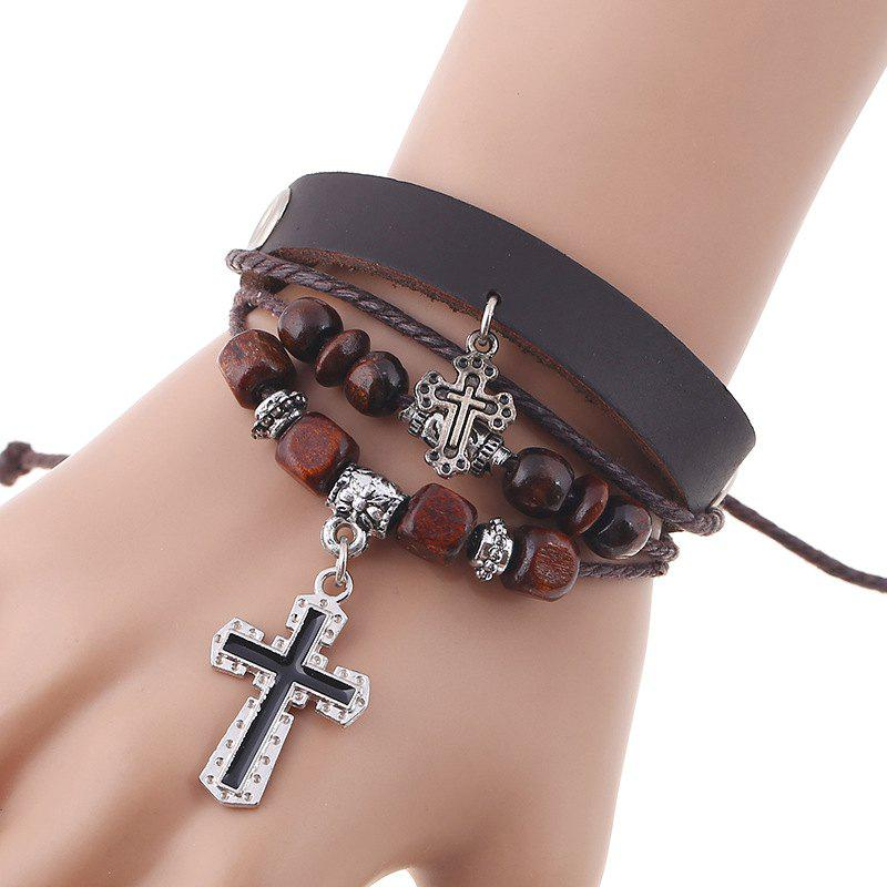 Women Beads Cross Leather Cowhide Leather Bracelet for Men danjue genuine leather men wallets long coin purses big capacity card holder cowhide day clutch phone money bag