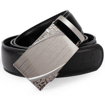 Men'S Casual Automatic Buckle Leather Belt Fashion Belt of Leather Business Fashion Belt. - BLACK 125