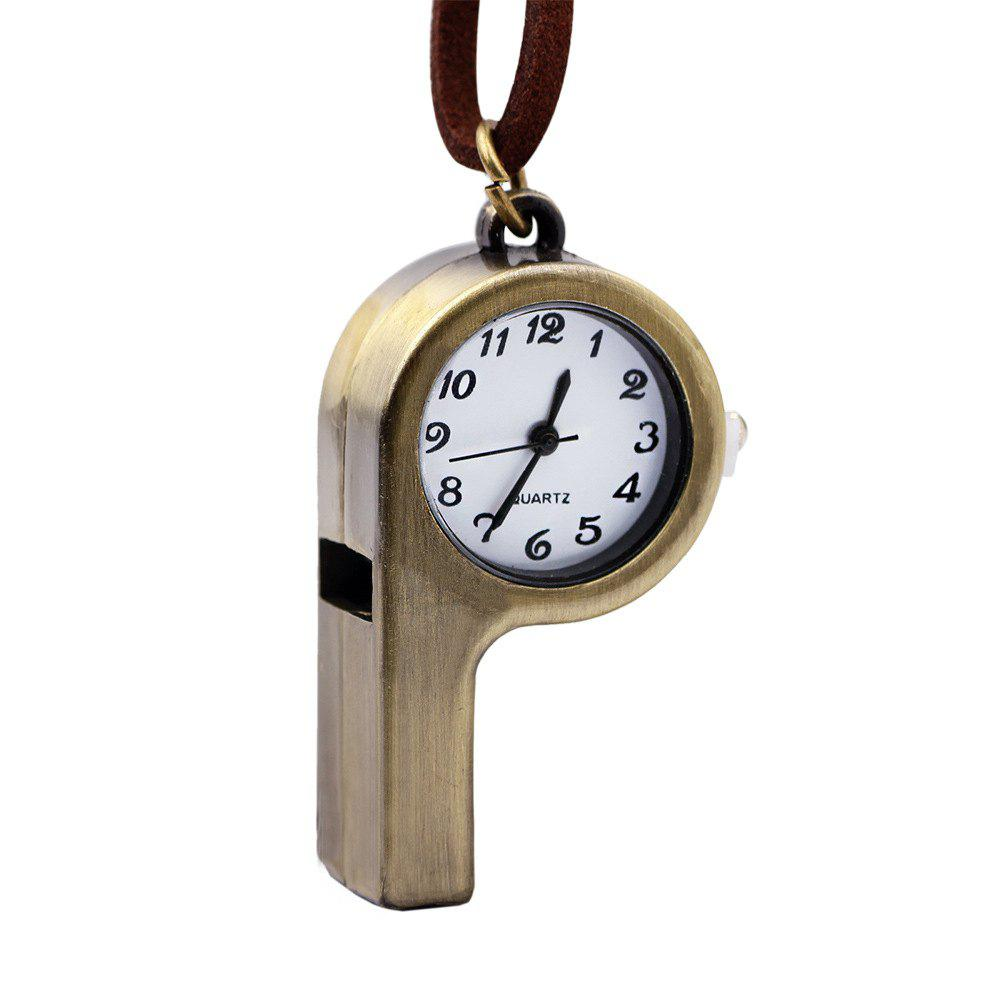 Whistle Shape Pocket Quartz Keyring Watch Keychain Pendant Gifts - COPPER COLOR